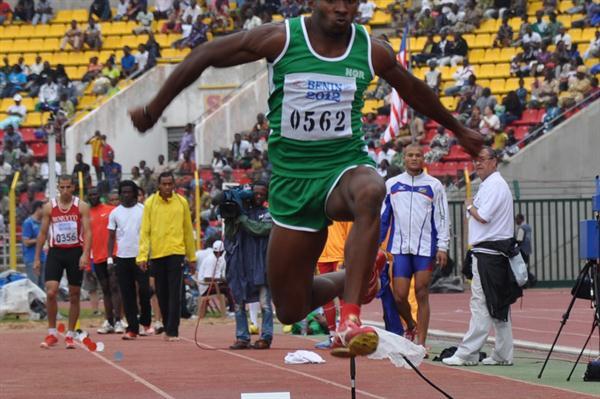 Nigeria's Tosin Oke wins the Triple Jump title in Porto-Novo (Yomi Omogbeja/AthleticsAfrica.Com)