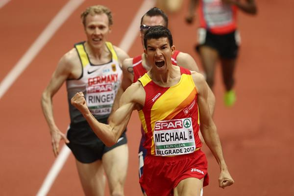 Adel Mechaal of Spain winning the 3000m at the European Indoor Championships in Belgrade (Getty Images)