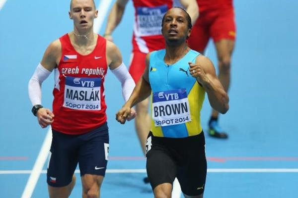 Chris Brown wins his 400m heat at the 2014 IAAF World Indoor Championships in Sopot (Getty Images)