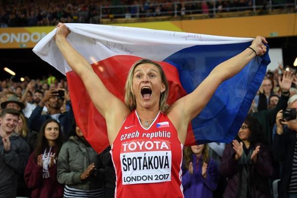 Barbora Spotakova after winning the javelin at the IAAF World Championships London 2017 (Getty Images)