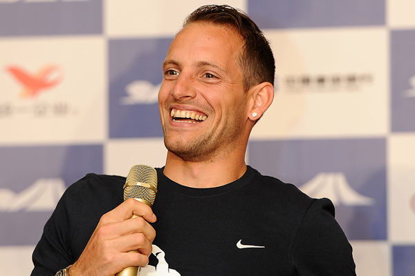 Renaud Lavillenie at the press conference for the IAAF Diamond League meeting in Shanghai (Errol Anderson)