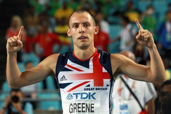 David Greene of Great Britain celebrates  his gold medal in the men's 400 metres hurdles final (Getty Images)