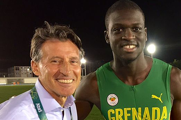 IAAF President Sebastian Coe with Kirani James in Rio (IAAF)