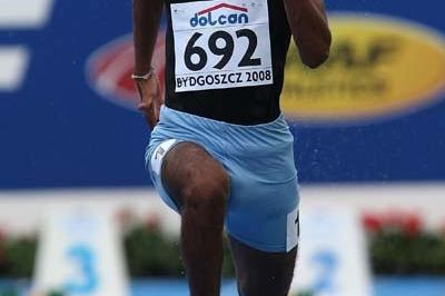 Shehan Abeypitiyage of Sri Lanka in action during of the Men's 100m heats (Getty Images)