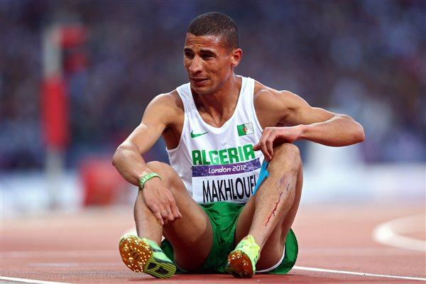 Taoufik Makhloufi of Algeria sits on the track in the Men's 1500m Semi Final on Day 9 of the London 2012 Olympic Games at the Olympic Stadium on August 5, 2012 (Getty Images)