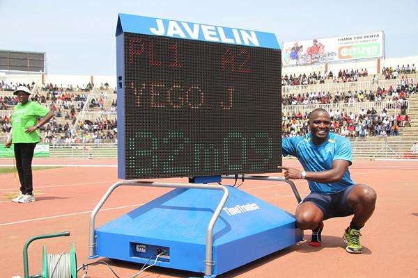 Julius Yego after his new Kenyan Javelin record at the 2013 Kenyan trials (Stafford Ondego (The Standard))