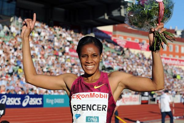 Kaliese Spencer after winning the 400m hurdles at the 2014 IAAF Diamond League in Oslo (Mark Shearman)