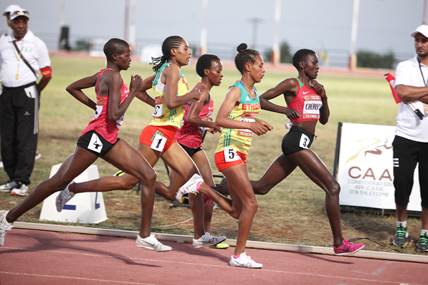 Eventual winner Joyline Cherotich of Kenya leads the women's 3000m at the African Junior Championships (LOC)
