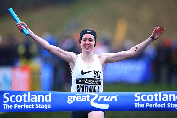 Laura Muir anchors Scotland to victory in the 4x1km relay at the Great Edinburgh X Country (Getty Images)