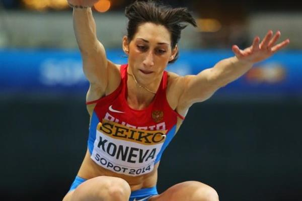 Yekaterina Koneva in the triple jump at the IAAF World Indoor Championships in Sopot (Getty Images)