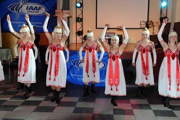 Chuvash national dance display at the IAAF Dinner (Jan Zmek)