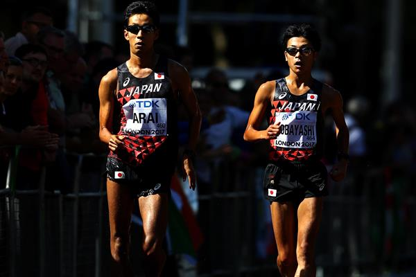Hirooki Arai and Kai Kobayashi in action in the 50km race walk (Getty Images)