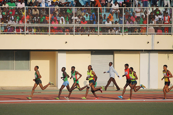 Mohammed Fatah (second from left) on his way to winning the 3000m steeplechase in Djibouti City (Organisers)
