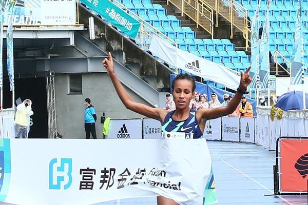 Askale Merachi taking the 2020 Taipei Marathon title (Organisers)
