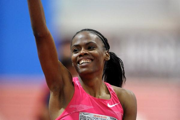 Chaunte Lowe after her 1.98m clearance in Albuquerque (Kirby Lee)