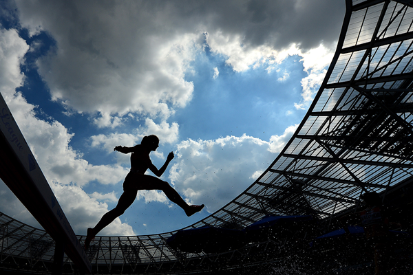 A steeplechaser in action at London's Olympic Stadium (Getty Images)