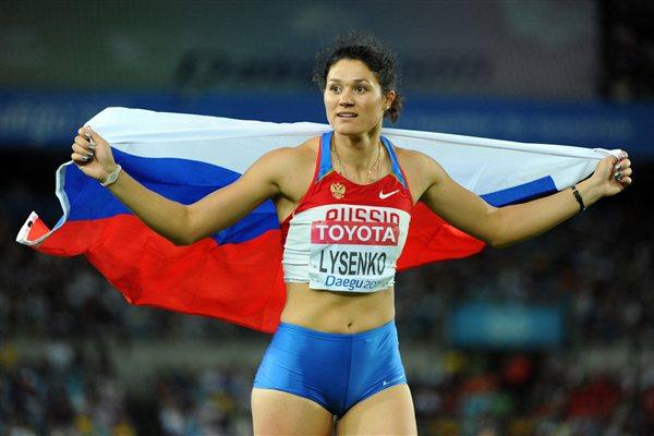 Tatyana Lysenko of Russia celebrates victory in the women's hammer throw final  (Getty Images)