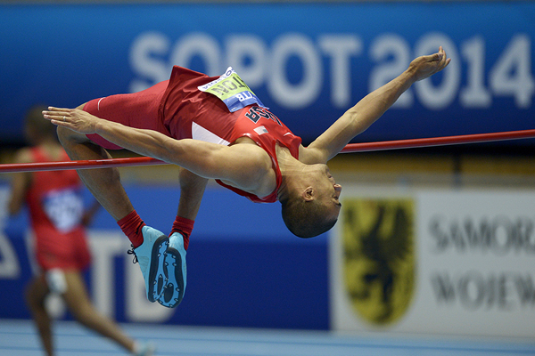 Ashton Eaton in the heptathlon high jump at the IAAF World Indoor Championships (AFP / Getty Images)
