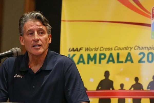 IAAF President Sebastian Coe at the IAAF/LOC press conference in Kampala (Roger Sedres)