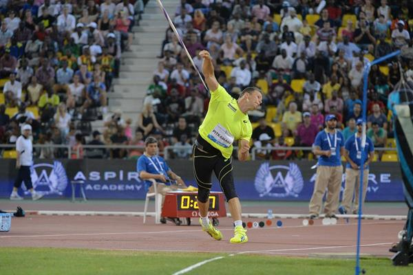 Tero Pitkamaki, winner of the javelin at the 2015 IAAF Diamond League meeting in Doha (DECA Text & Bild)