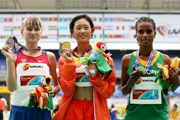 Girls' 5000m race walk podium at the IAAF World Youth Championships, Cali 2015 (Getty Images)