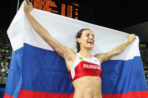 Yelena Isinbayeva celebrates defending her World title in Osaka (Getty Images)