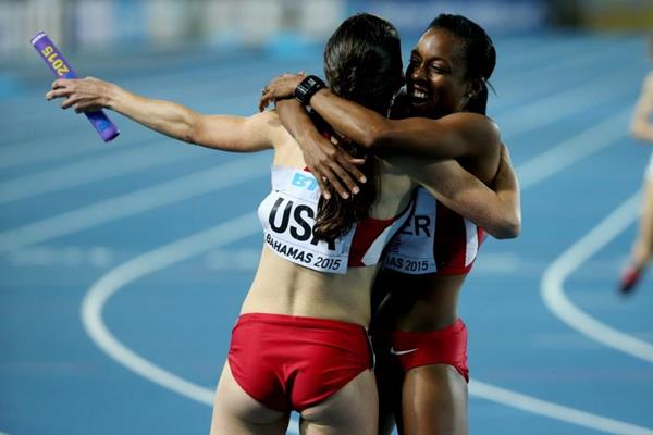 USA after the women's distance medley relay at the IAAF/BTC World Relays, Bahamas 2015 (Getty Images)