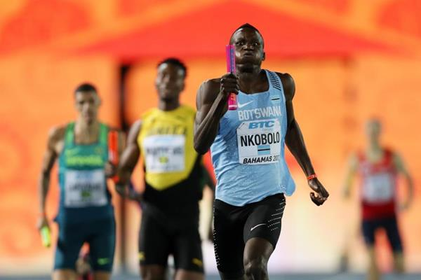 Onkabetse Nkobolo of Botswana in the 4x400m heats at the IAAF/BTC World Relays Bahamas 2017  (Getty Images)