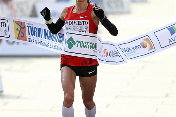 Yuliya Ruban winning the 2010 Turin Marathon (Giancarlo Colombo)