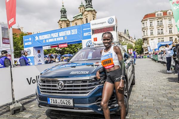 Lonah Chemtai Salpeter after winning the Prague Marathon (Organisers)