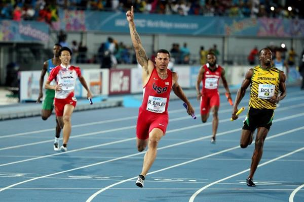 Ryan Bailey winning the 4x100m for the USA at the IAAF/BTC World Relays, Bahamas 2015 (Getty Images)
