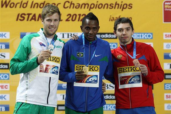 (L-R) Silver medalist Henry Frayne of Australia, gold medalist Mauro Vinicius Da Silva of Brazil and bronze medalist Aleksander Menkov of Russia stand on the podium during the medal ceremony for the Men's Long Jump Final during day three - WIC Istanbul (Getty Images)