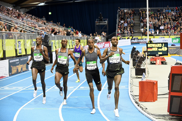 Silas Kiplagat wins the 1500m at the IAAF World Indoor Tour meeting in Karlsruhe (Jiro Mochizuki)
