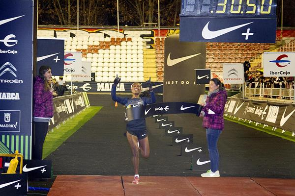 Ethiopia's Gelete Burka wins at the 2012 San Silvestre Vallecana in Madrid (Organisers)