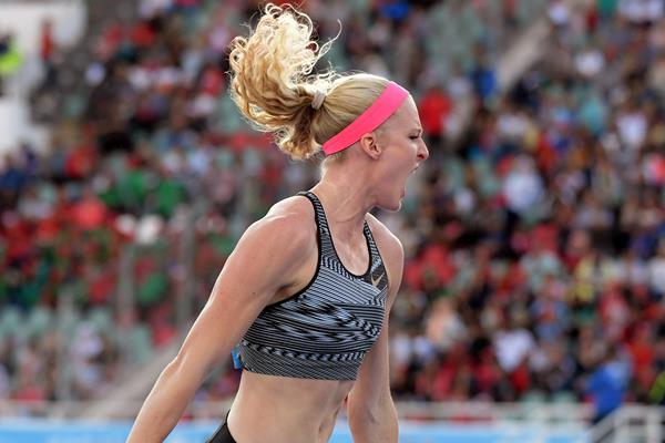 Pole vault winner Sandi Morris at the IAAF Diamond League meeting in Rabat (Kirby Lee)