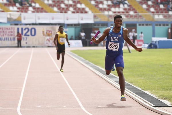 Josephus Lyles in the men's 4x400m at the Pan-American Junior Championships in Trujillo (Alicia Fonseca/organisers)