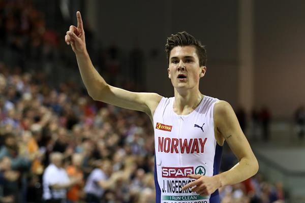 Jakob Ingebrigtsen after his convincing 3000m victory at the European Indoor Championships (Getty Images)