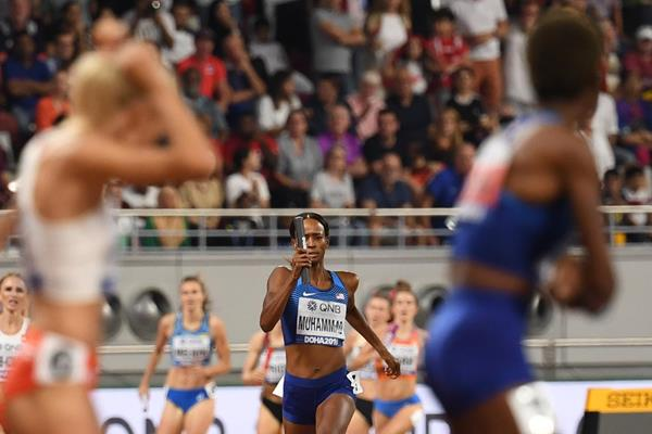Dalilah Muhammad in the 4x400m at the IAAF World Championships Doha 2019 (AFP / Getty Images)