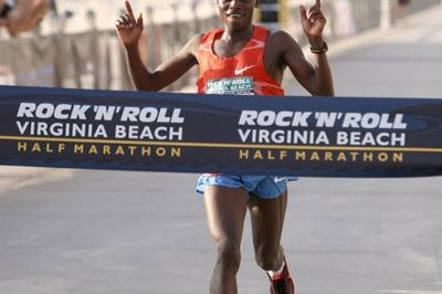 William Chebor of Kenya wins the ninth annual Rock 'n' Roll Half Marathon in Virginia Beach (Victah Sailer)