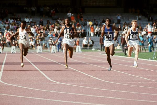 USA's Jim Hines (279) at the 1968 Olympic Games (AFP / Getty Images)