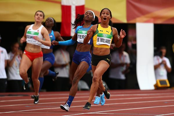 Surprise! Briana Williams after taking the 100m title at the IAAF World U20 Championships Tampere 2018 (Getty Images)