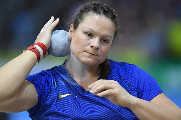 Christina Schwanitz, winner of the shot put at the IAAF World Indoor Tour meeting in Karlsruhe (Jiro Mochizuki)