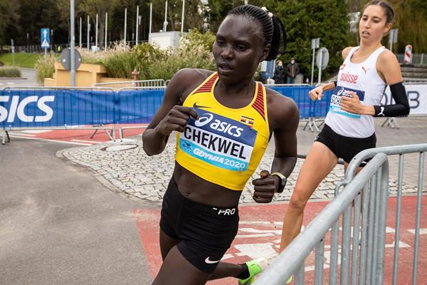 Juliet Chekwel in action at the World Athletics Half Marathon Championships Gdynia 2020 (Dan Vernon)