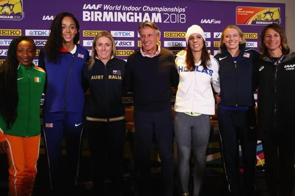 IAAF/LOC press conference line-up in Birmingham, from left: Marie-Josée Ta Lou, Katarina Johnson-Thompson, Sally Pearson, IAAF President Sebastian Coe, Ekaterini Stefanidi, Sandi Morris and Stacy Dragila  (Getty Images)