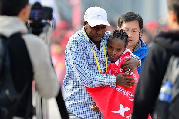 Mare Dibaba just after winning the 2014 Xiamen International Marathon (Organisers)