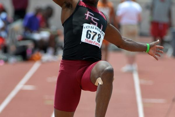 Ngonidzashe Makusha of Zimbabwe sails to a wind-assisted 8.40m leap at the Texas Relays (Kirby Lee)
