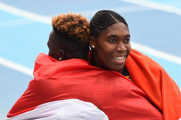 Caster Semenya and Francine Niyonsaba congratulate each other after the 800m final at the African Championships in Asaba (AFP/Getty Images)