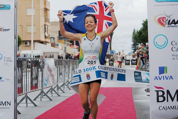 Kirsten Bull wins the women's race at the IAU 100km World Championships (James Evans)