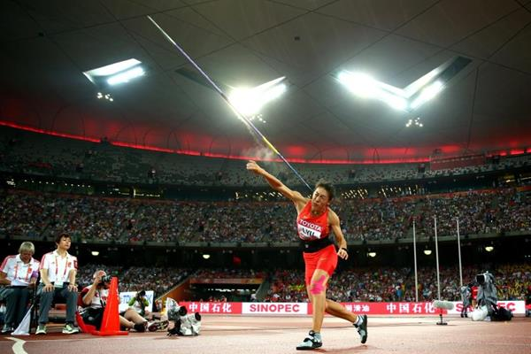 Lyu Huihui in the javelin final at the IAAF World Championships, Beijing 2015 (Getty Images)