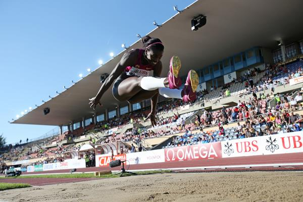 Caterine Ibarguen in the triple jump at the IAAF Diamond League meeting in Lausanne (Getty Images)